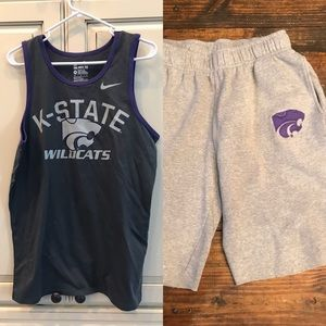 K state wildcats sweat shorts & tank med